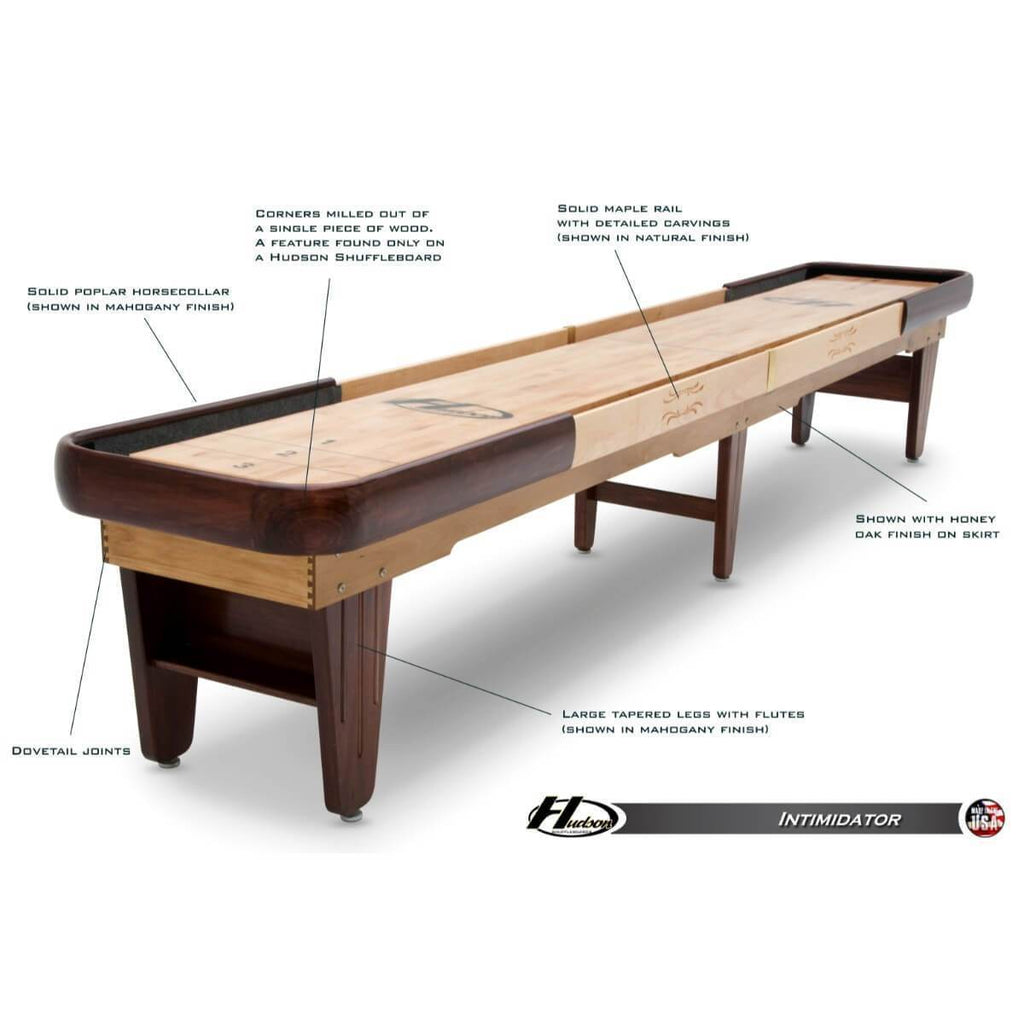 Hudson Intimidator Shuffleboard Table 9'-22' with Custom Stain Options