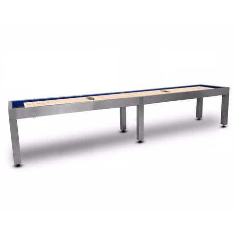 Image of Hudson Brushed Stainless Steel Shuffleboard Table 9'-22' with Custom Finish Options