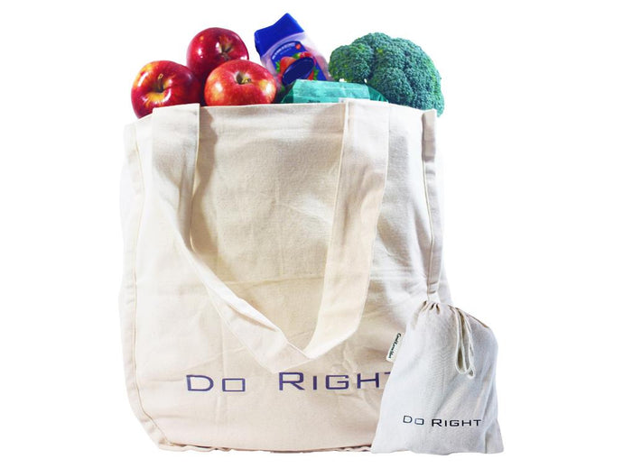Organic Cotton Tote Bag with Storage Pouch Good Karma Mart
