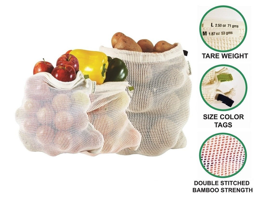 Bamboo Reusable Mesh Bags - Plastic Free Shopping (set of 3 or 6) Good Karma Mart