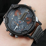 Men's Big Large Dial Watch New Fashion Individual Clock Steel Belt 7333 Quartz Watch Sports Business Hour