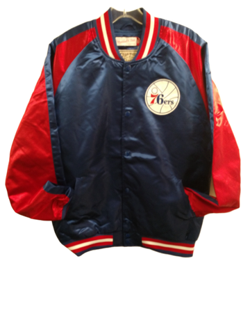 Philadelphia Sixers button down satin jacket