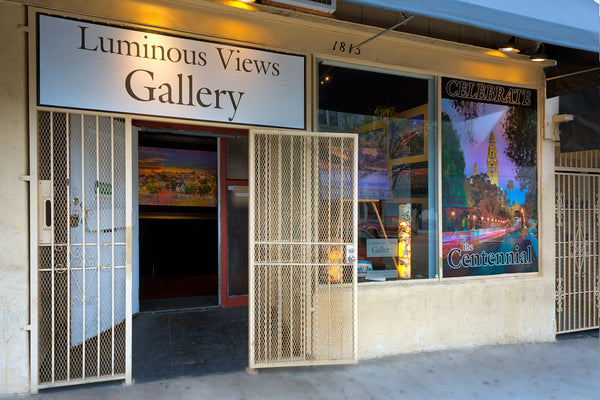 Entrance to Luminous Views Gallery. The building dates back to WW1.