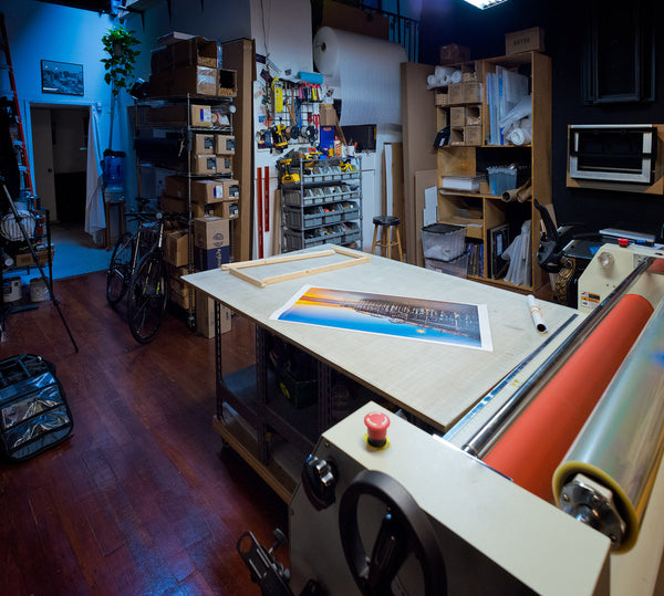 Interior of print finish table, tool wall and supplies.