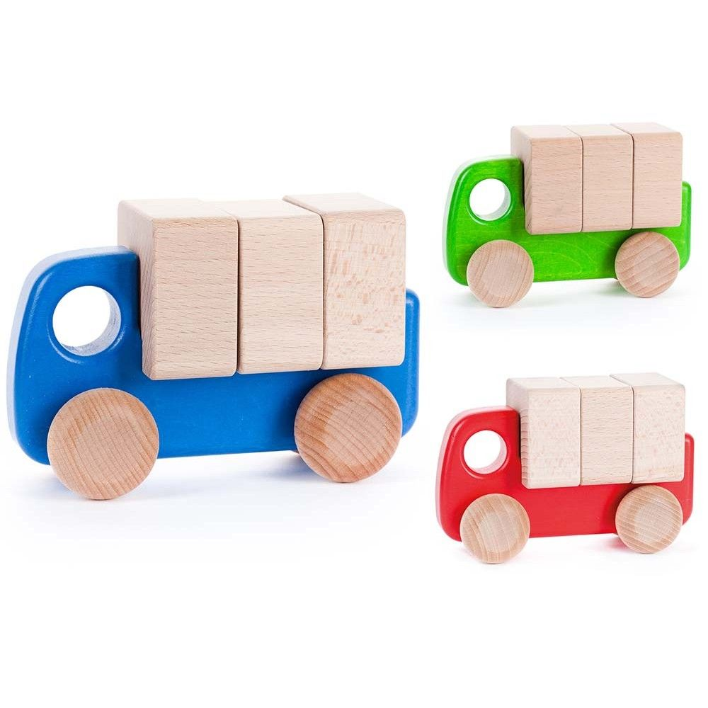 Bajo | Wooden Lorry with blocks | Blue