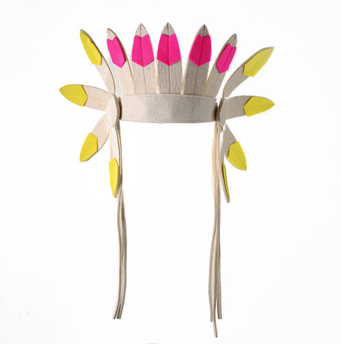 Short Multi Coloured Indian Headdress