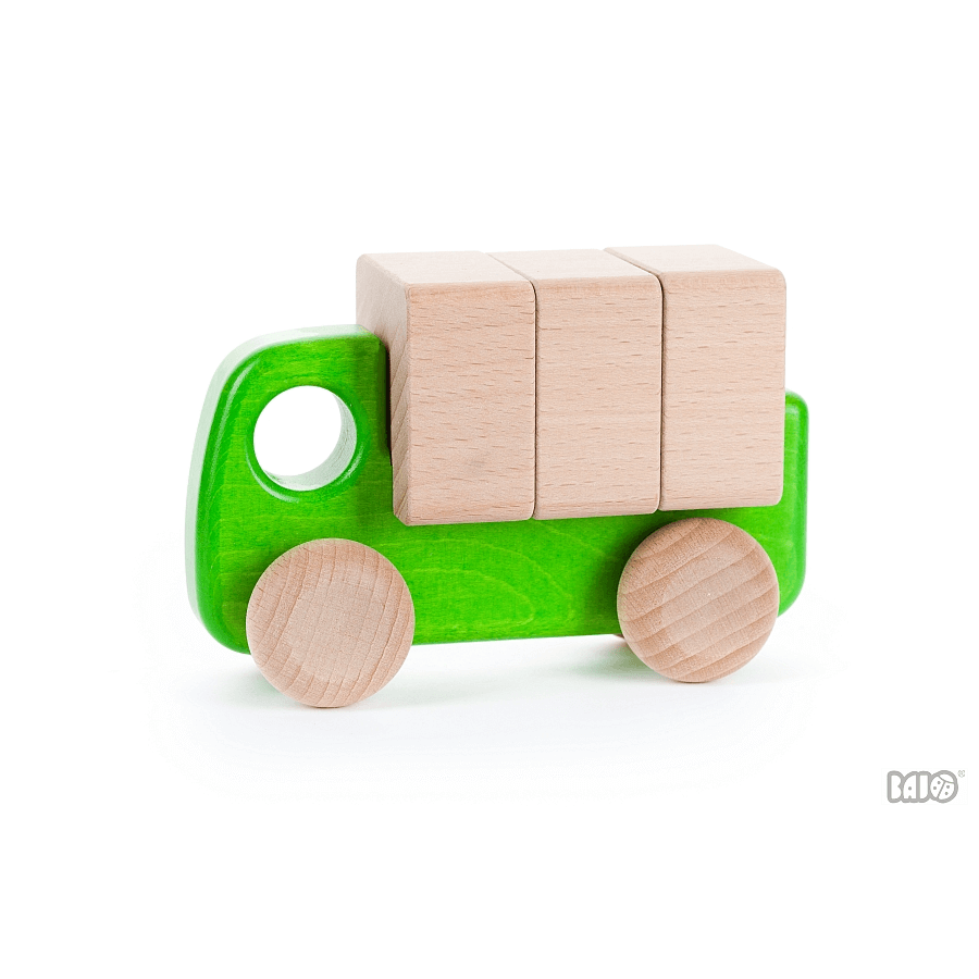 Bajo | Wooden Lorry with blocks | green