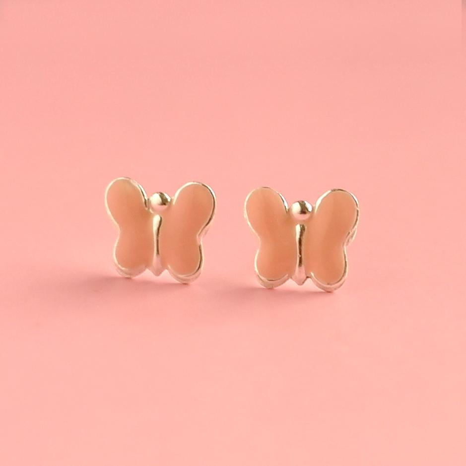 Earrings Boxed Sterling Silver | Pink Pastel Butterfly