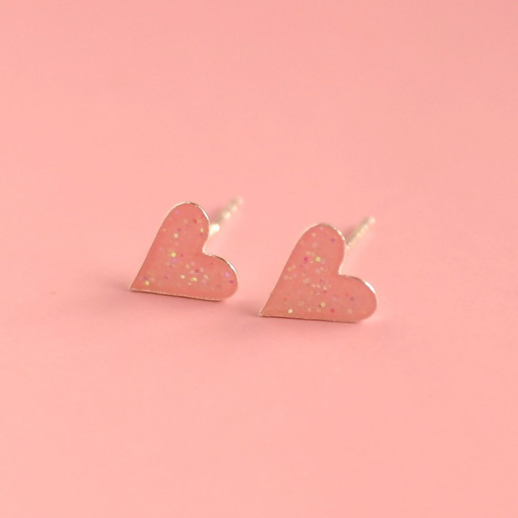 Earrings Boxed Sterling Silver | Pink Glitter Heart