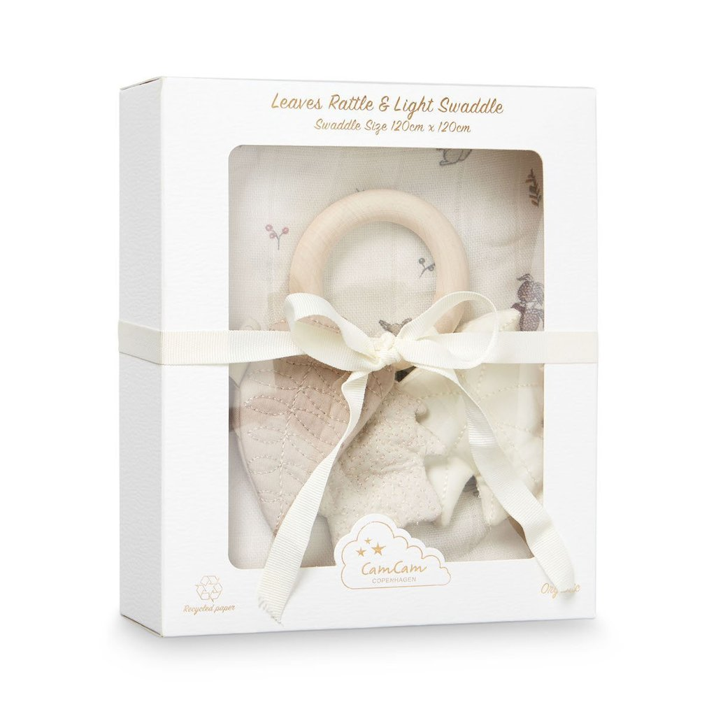 Cam Cam | Gift Box Rattle and Light Swaddle (Fawn)