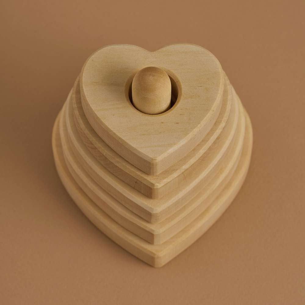 Raduga Grez | Wooden Heart Stacker | Natural