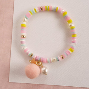 Bracelet | Pink Pastel with Pom Pom and Pearl