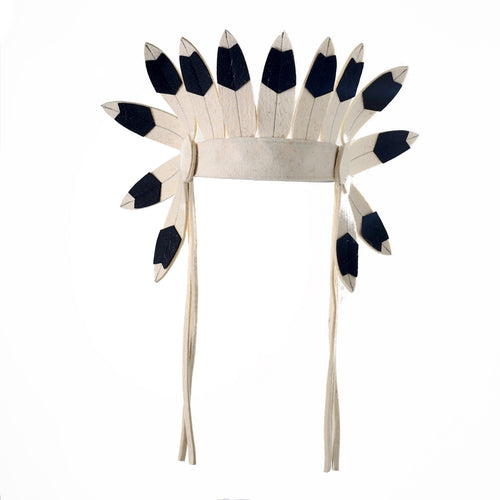 Short Black and White Indian Headdress