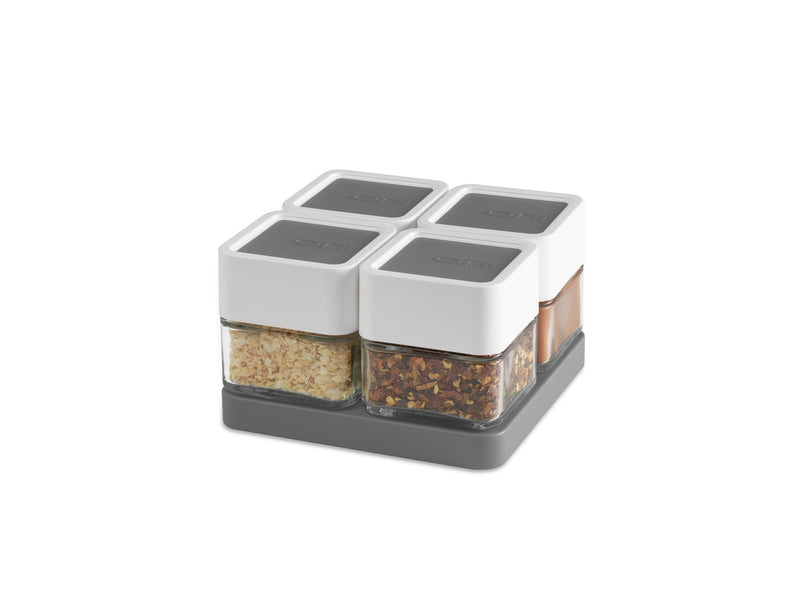 Orii Mono-Spice Block with Bonus Tray - Charcoal Gray - Set of 4