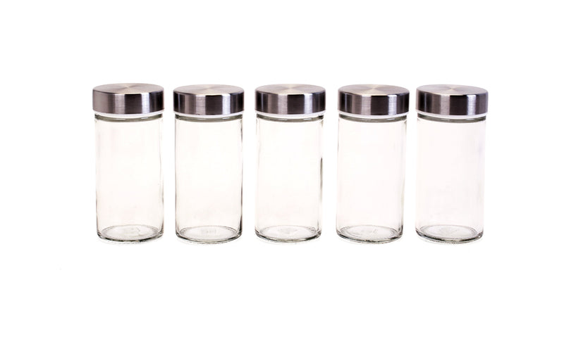 Orii 3 oz. Round Utility Storage and Spice Jar with Stainless Steel Lid - Set of 5
