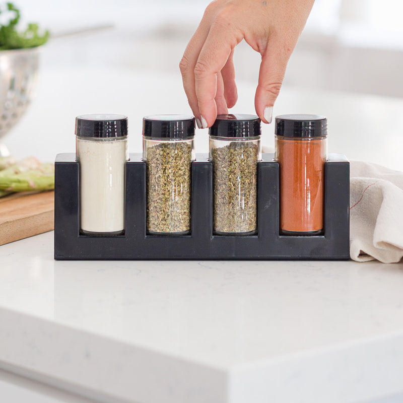 4 Jar Spice Rack filled with spices