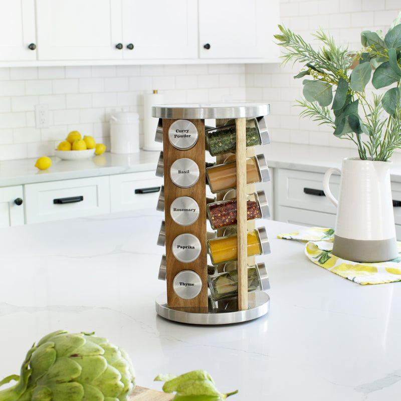Orii 20 Jar Spice Organizer Rack in Natural Acacia Wood