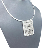 Sterling Silver Neck Cuff and Strung Rectangle Pendant set