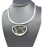 Sterling Silver Neck Cuff with Silver and 14k Yellow gold bar pendant set