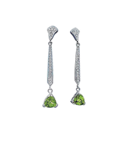 Peridot and Diamonds White Gold Earings