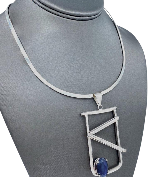 Tanzanite and Diamonds SS Pendant and Neck Cuff Set
