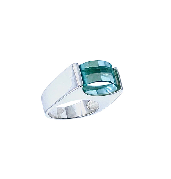 Green Quartz SS Ring