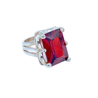 Crystal Quartz Red SS Ring