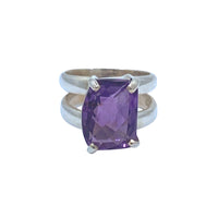 Crystal Quartz Purple SS Ring