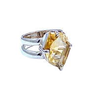 Yellow Citrine SS Ring