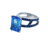 Swiss Blue Topaz and Blue Diamond SS Hugo Original ring