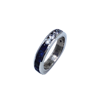 Blue Sapphire and White Cz SS Half Way Band