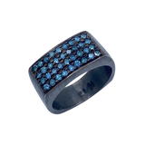Black Rhodium and Blue Diamonds Hugo Original men's SS  ring
