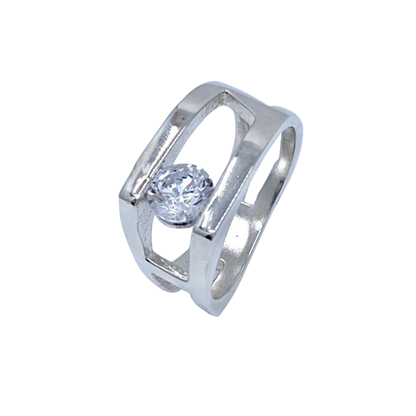 Hugo Signature CZ Sterling Silver Ring