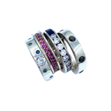 Blue and White Diamonds SS Eternity Band