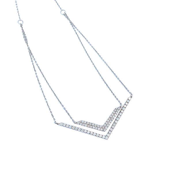 Double Pendant Diamonds White Gold Necklace
