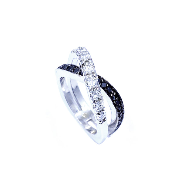 Hugo Signature Collection Original White Gold White and Black Diamond Ring