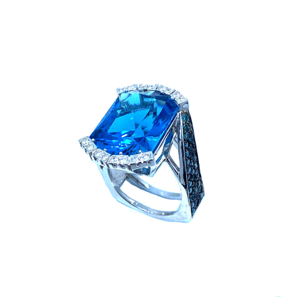 London Blue Topaz Hugo Signature Collection White Gold Ring