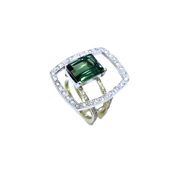 Green Tourmaline Hugo Signature Original Two Tone Gold Ring