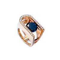 Slide Black Hugo Signature Diamond Rose Gold Ring