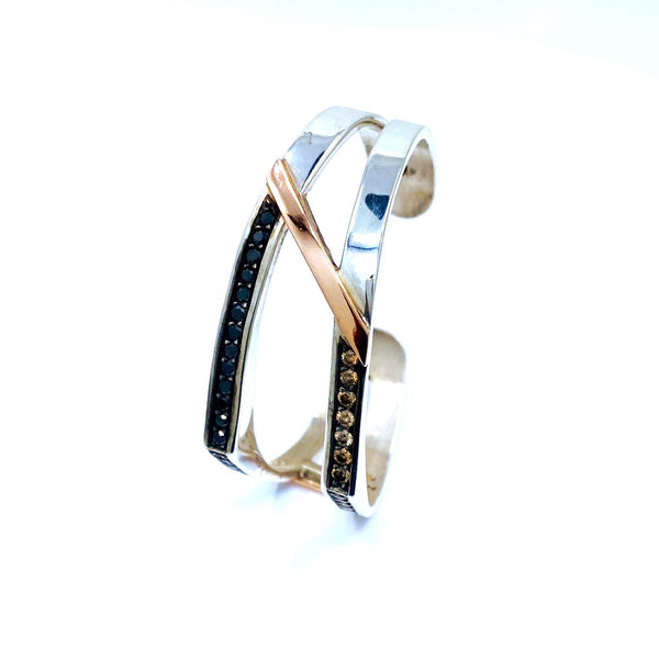 Hugo Signature SS and Gold Black/Champagne Diamond Two Tone Bracelet