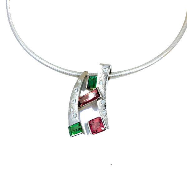 Multicolored Tourmaline and Diamonds Hugo Signature Necklace
