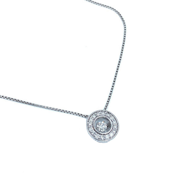 Dangle Diamond White  Gold Necklace