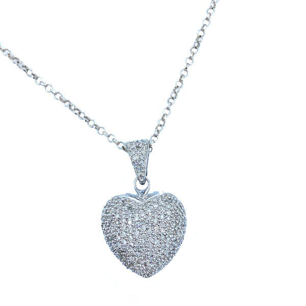 Heart Diamonds White Gold Necklace