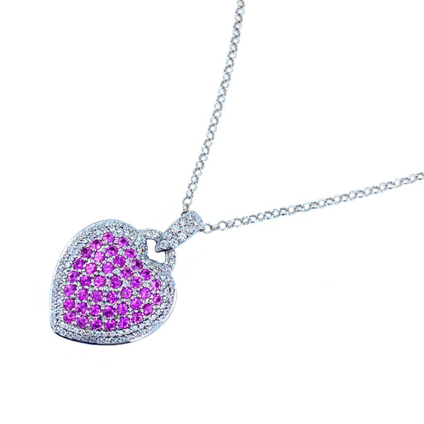 Rubíes and Diamonds White Gold Heart Necklace