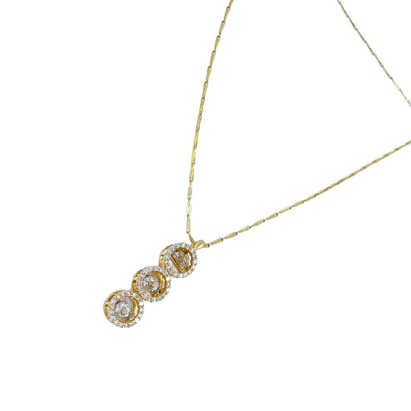 Triple Diamond Yellow Gold Necklace