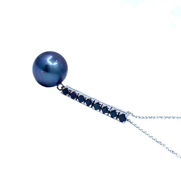 Black Tahitian Pearl  Gold Necklace