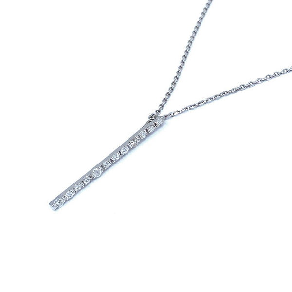 Vertical Diamond 14k White Gold Necklace