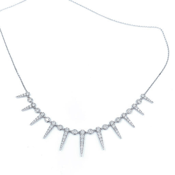 Diamond Spikes White Gold Necklace