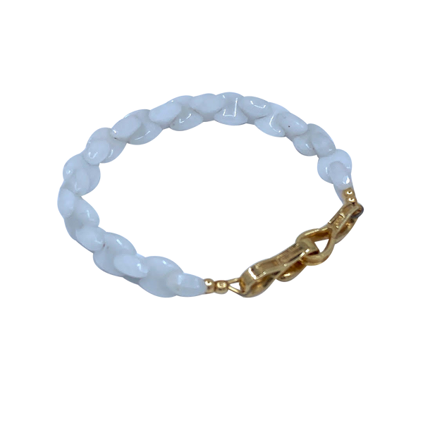 White Quartz with 14k Yellow Gold Clasp Hugo Original Link Bracelet