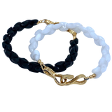 Black Faceted Onix with 14k Yellow Gold Clasp Hugo Original Bracelet